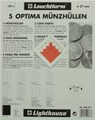 5 Feuilles monnaies Optima 27 à 35 cases de 27mm M35 Leuchtturm 306013